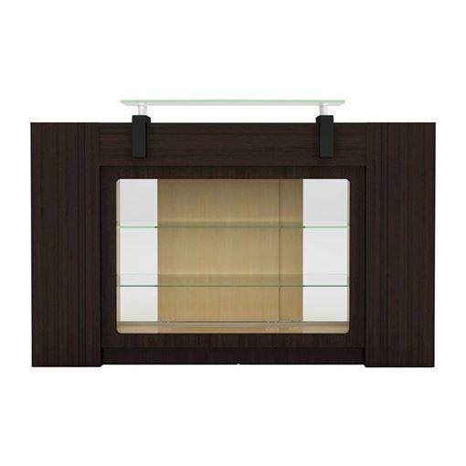 dark wood and oak two-tone color Berkeley reception desk