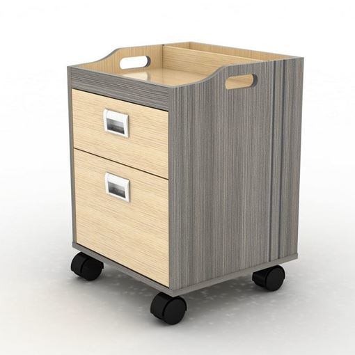 front view of the grey laminate Alera pedicure trolley