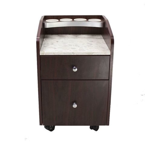 front view of 2 drawer mahogany color Avon pedi trolley