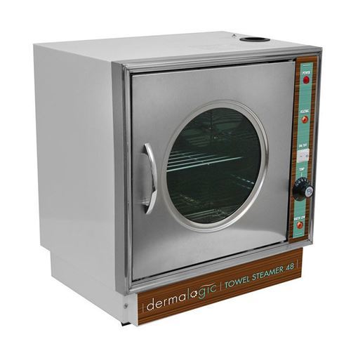 stainless steel Dermalogic 48 towel steamer with glass window