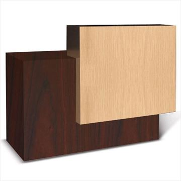 ANS Contemporary reception desk in mahogany and oak laminate color