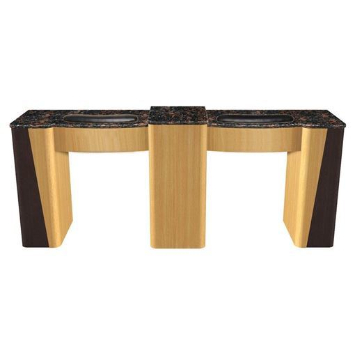 front view of cherry / dark oak VL-100 double nail table