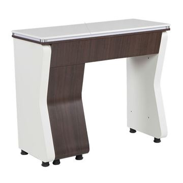 white / walnut laminate NV310 nail table with white marble top