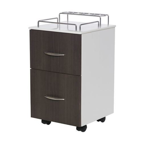 white / walnut laminate PSD NV410 pedicure cart