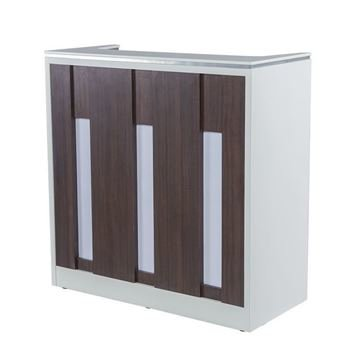 white / walnut laminate with white stone top NV510 reception desk