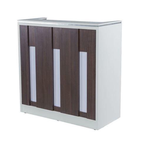 white / walnut laminate with white stone top NV510 reception desk