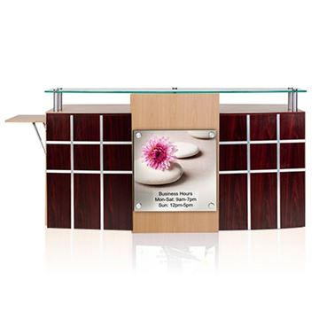 mahogany / oak laminate ANS Ion reception desk