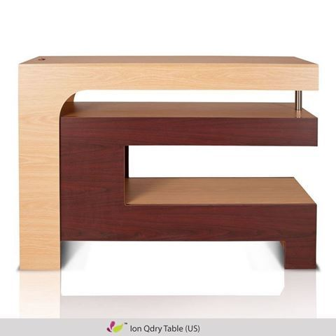 front view of mahogany & oak Ion Qdry table