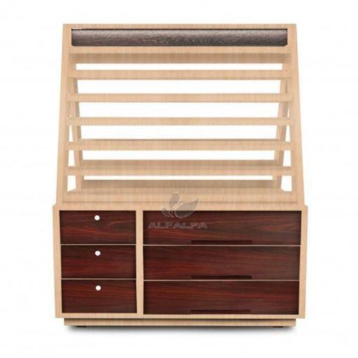 mahogany and oak wood color Pinnacle polish cabinet