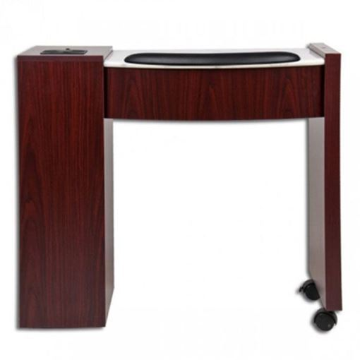 mahogany laminate with white marble Classic Space Saver nail table
