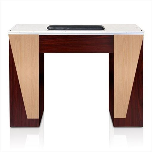 mahogany & oak Voltron nail table with white marble top