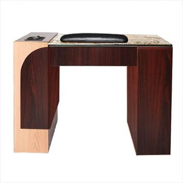 mahogany and oak Ion manicure table with jamocha glass top