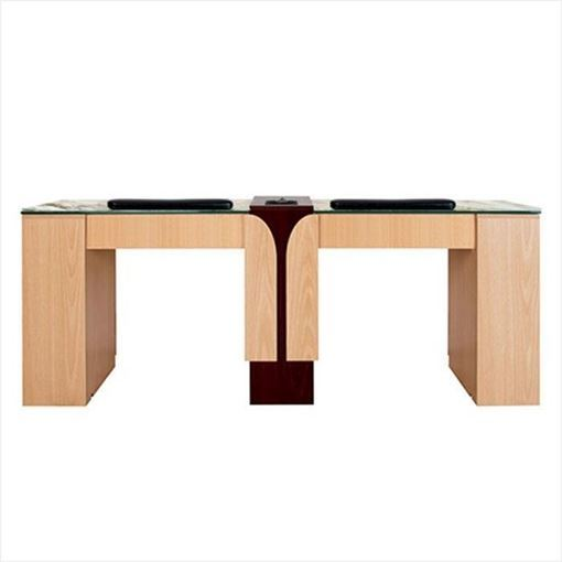 oak & mahogany Ion Double manicure table with jamocha tempered glass top