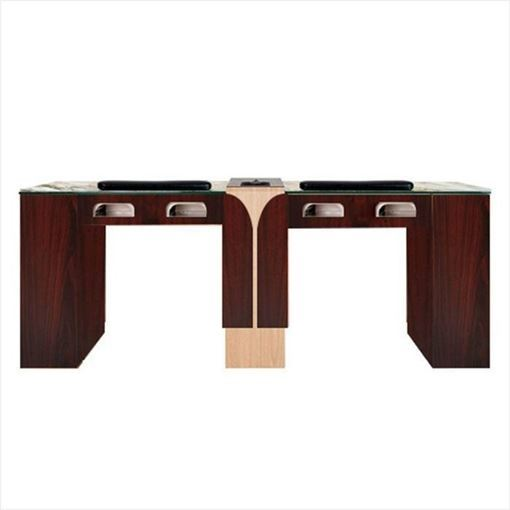 mahogany & oak Ion double nail table with UV gel lights and jamocha tempered glass