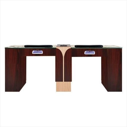 mahogany & oak Ion Double nail table with Hi-Power LED light