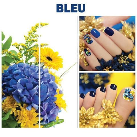 blue and yellow flowers on Bleu canvas set