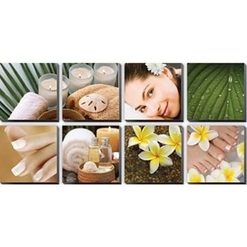8 piece Tropical Plumeria canvas murals, each piece measured 24 x 24 inches