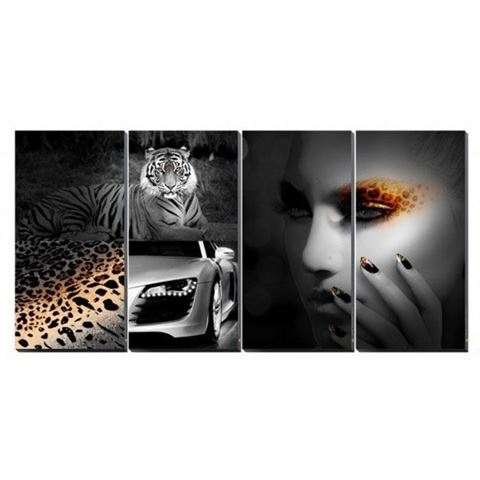 4-piece Animal Attraction canvas murals in black and white color concept