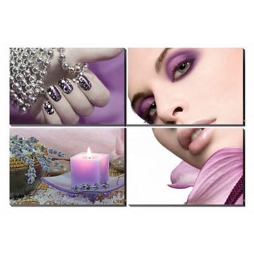 4 piece Plumeria Glamour canvas murals in purple color concept