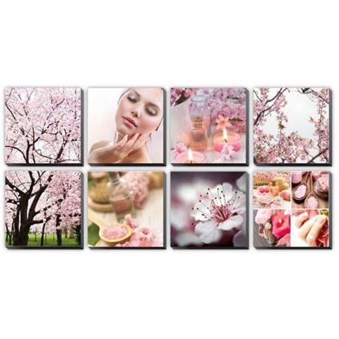 8 piece Pink Cherry Blossom canvas murals