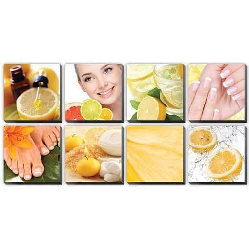 8 pieces of Citrus Canvas Murals in yellow color concept
