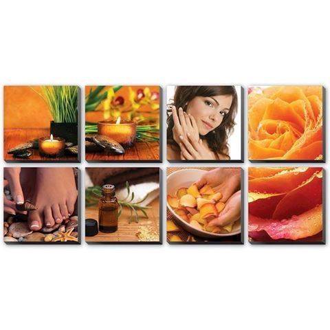 Golden Spa canvas murals, comes with 8 pieces in orange color concept