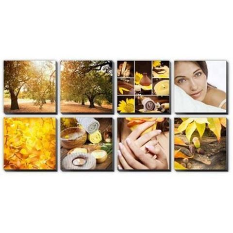 8 piece Amber Dew canvas murals in yellow color concept
