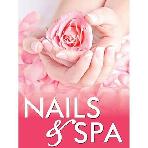 H8 Nails & Spa window decal, image of pink roses
