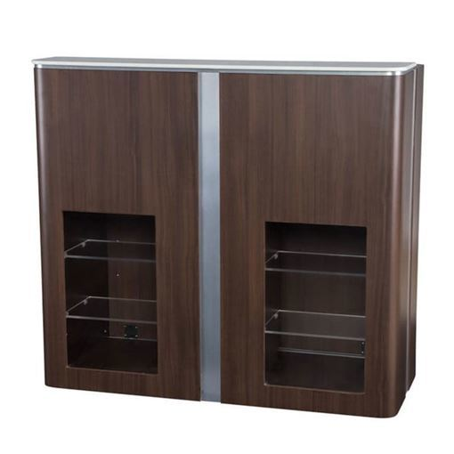 front view of dark walnut and chrome trim VM510 Modern reception desk