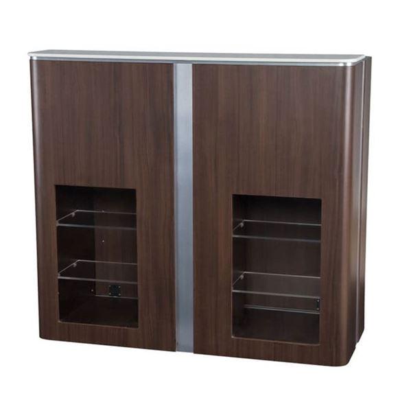 front view of dark walnut and chrome trim VM510 Modern reception desk