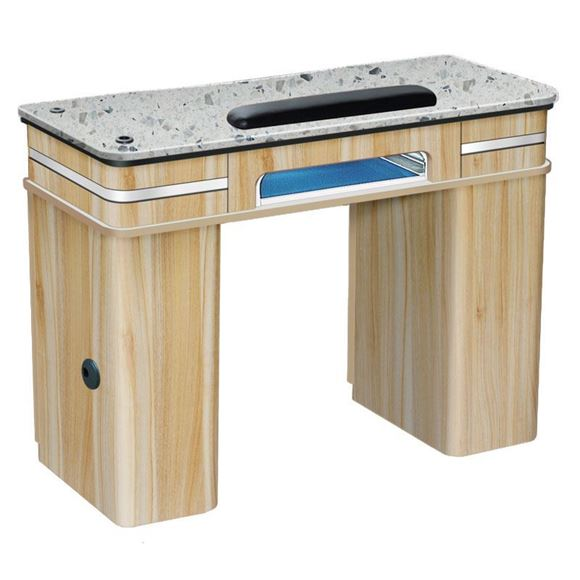 light brown Fiori nail table with white marble top