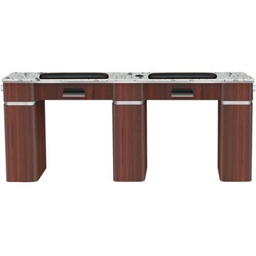 dark brown wood Fiori double nail table