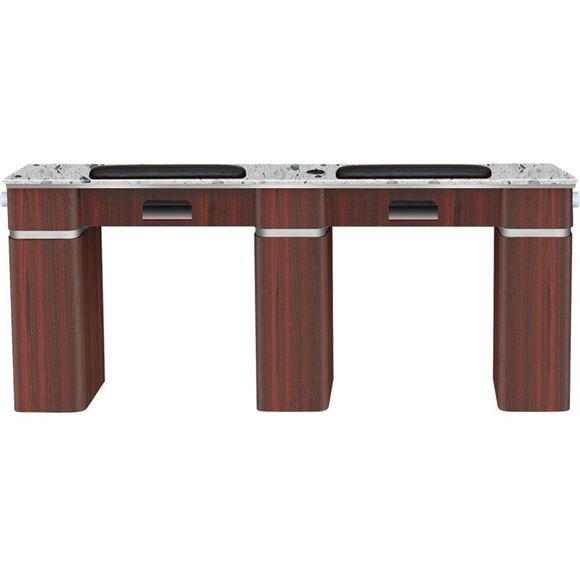 dark brown wood Fiori double nail table