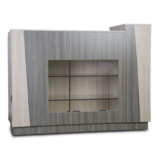 cream & grey Tiffany reception desk with glass shelves