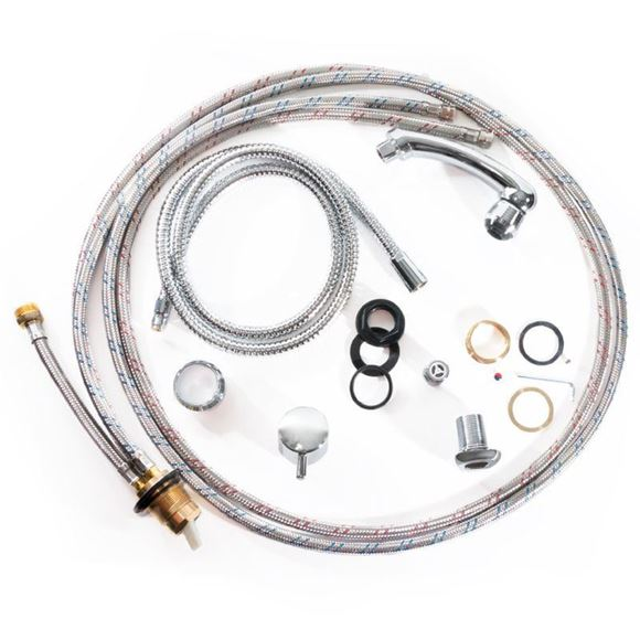 Gulfstream GS1000 faucet fit includes faucet mixing valve and hot/cold water hoses.