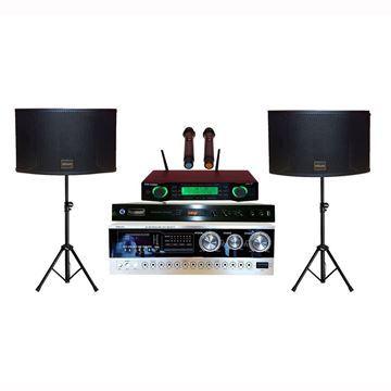 SSKaudio 2000 watt karaoke system includes: 1 pair of k12 speakers, ssk-58 wireless microphone, MA-2000 amplifier and tripods
