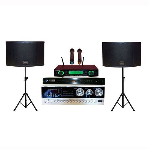 SSKaudio 2000 watt karaoke system includes: 1 pair of k12 speakers, ssk-58 wireless microphone, MA-2000 amplifier and tripods