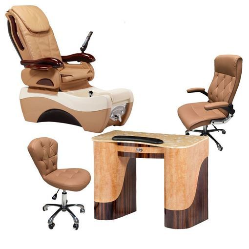 chocolate pedicure chair, T-105 nail table, G006 guest chair and TC003 technician stool in cappuccino color
