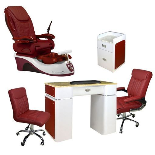 Cloud 9 salon package includes: Cloud 9 spa chair, T39g nail table, D39 pedi cart, G008 customer chair and TC008 tech stool in burgundy color