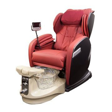 Fiori 9000 Pedicure Spa In Champagne Base, Crystal Bowl and Red Chair