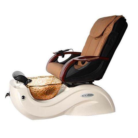 JA Cleo GX pedicure spa in bone base, gold bowl and mocha chair