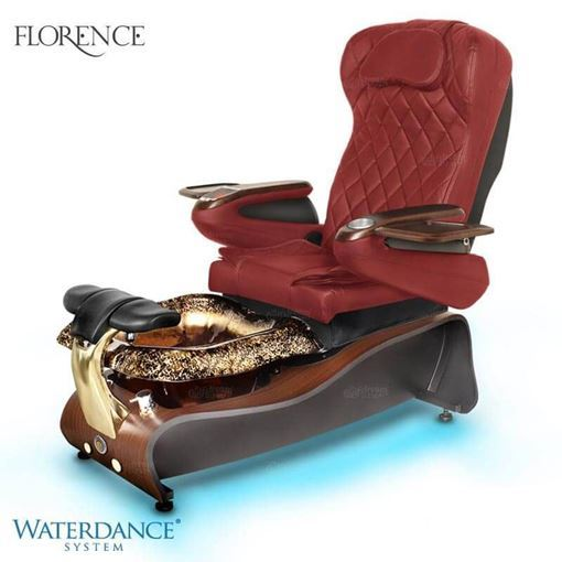 Gulfstream Florence pedicure spa chair in burgundy