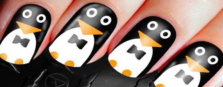 Penguin Accent Nail Art