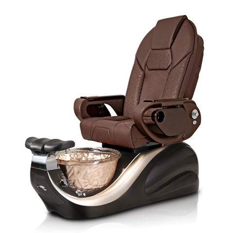 Vespa pedicure chair in Porsche gold base and chocolate Throne massage chair