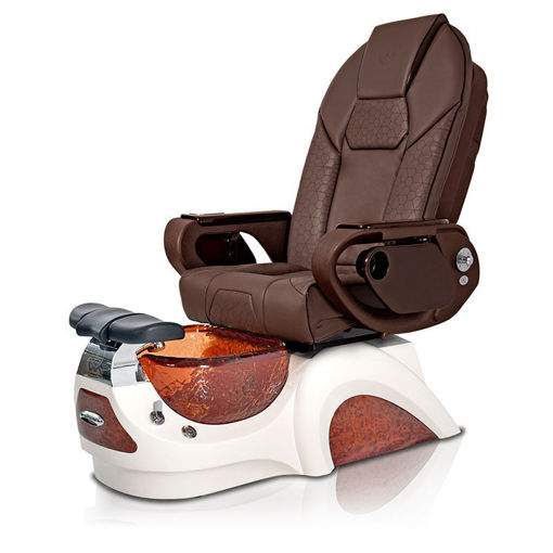 Noemi pedicure chair in amber base and chocolate Throne chair