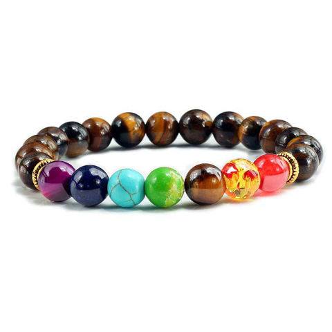 Natural Stone Tiger Eye 7 Chakra Bracelets