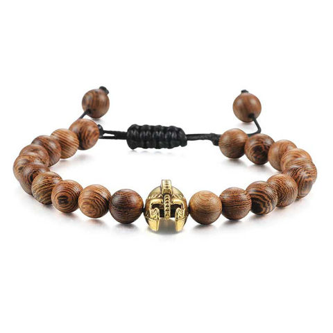 wooden gold color bracelet with Roman Knight Spartan Warrior charm