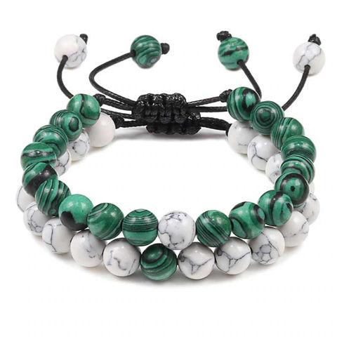 2pc set Malachite Stone Adjustable Healing Bracelet