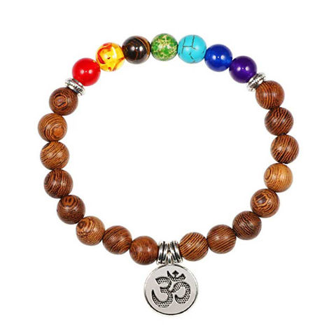 Picture of Natural Stone Wooden Pendant 7 Chakra Healing Bracelet
