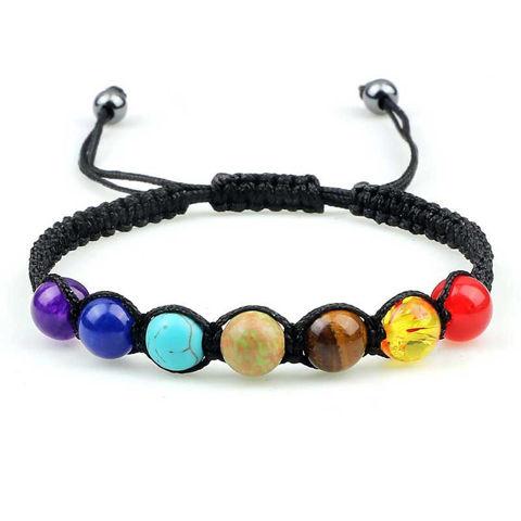 7 Chakra black braided healing bracelet